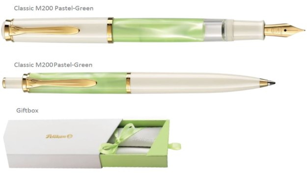 M200 Pelikan Pastel-Green Fountain and Ballpoint Pens