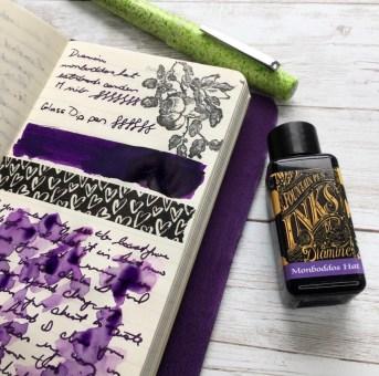 Diamine Mondboddos Hat Ink Review with Esterbrook Camden Composition fountain pen in spring break fluorescent green