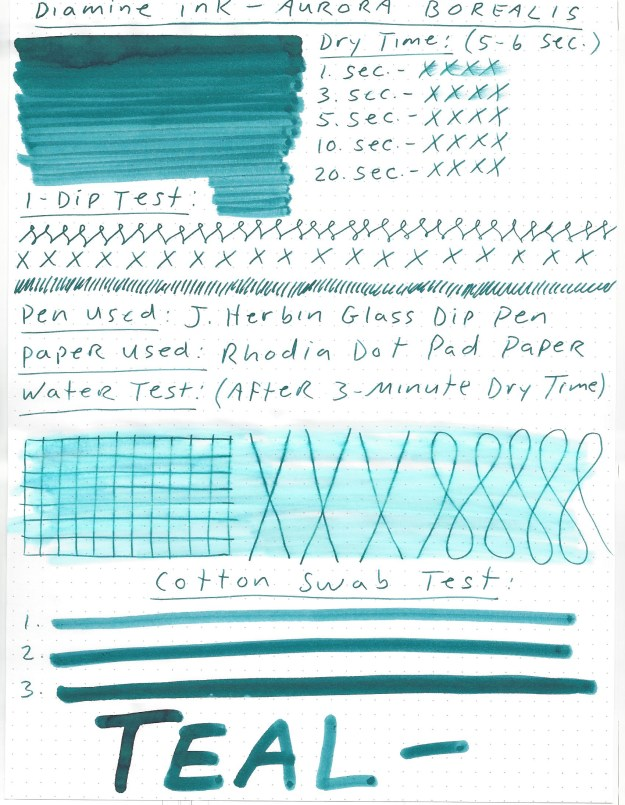 Diamine Aurora Borealis Fountain Pen Ink Review and Giveaway