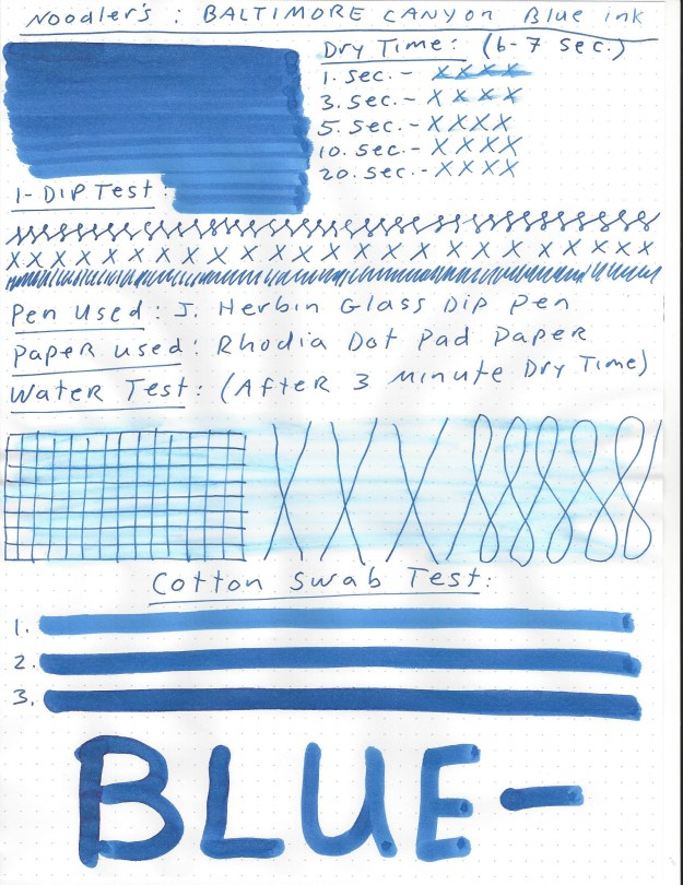 Noodler's Baltimore Canyon Blue Ink Review