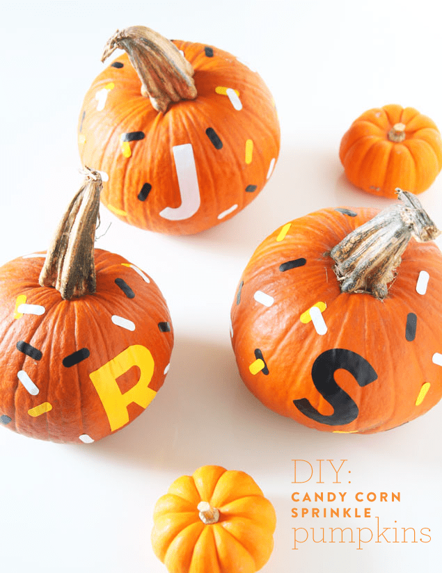 DIY Candy Corn Sprinkle Pumpkins with Monograms - www.pencilshavingsstudio.com #halloween