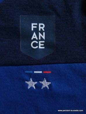 Tee shirt brodé France 2 étoiles champions du monde