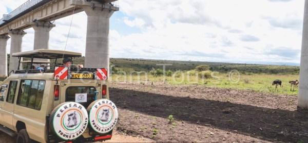 Penfan Tours 4x4 Landcruiser tour van at Nairobi National Park