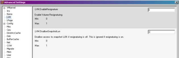 LVM Settings