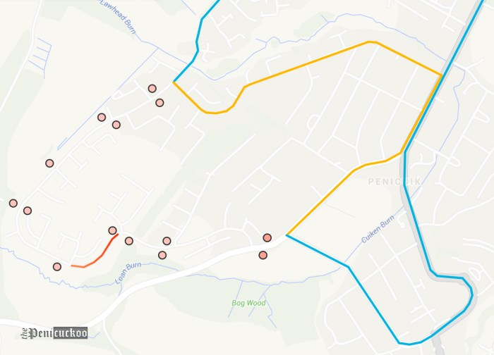 Blue = Normal Route, Orange = Diverted Route, Red = Closed section, Red Circle = Closed Bus Stops