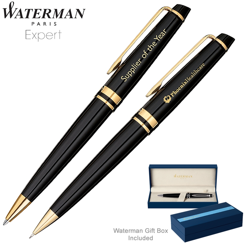 Promotional Waterman Expert Black GT Ballpoint Pen ...