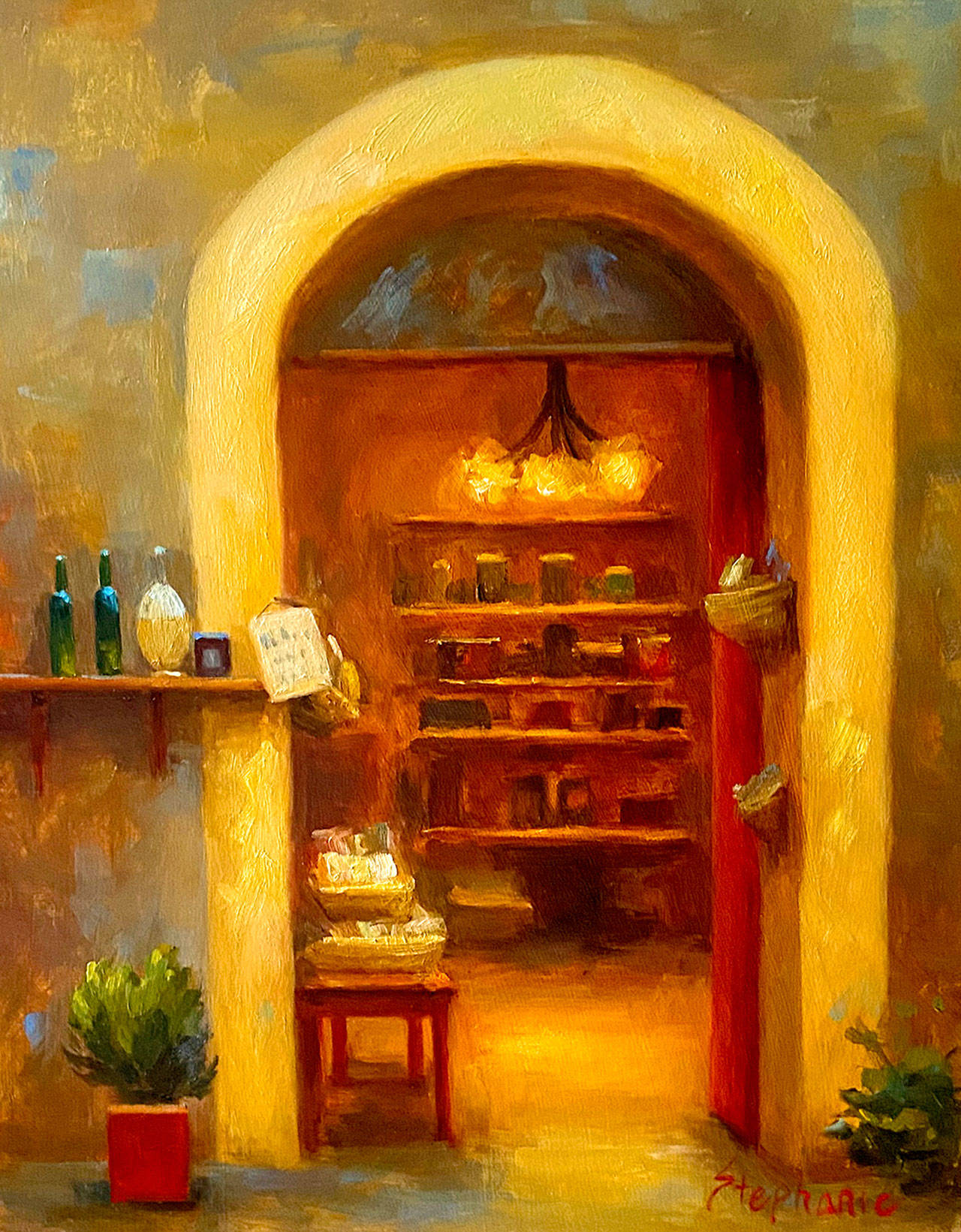 ??  Olive oil store in Pienza ??  is one of the works of art by Stephanie K. Johnson on display at the Port Townsend Gallery this month.