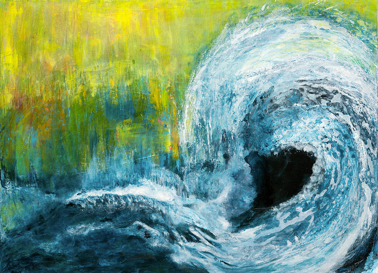 Sally Pfaff uses acrylics to represent water in interaction with landscapes.
