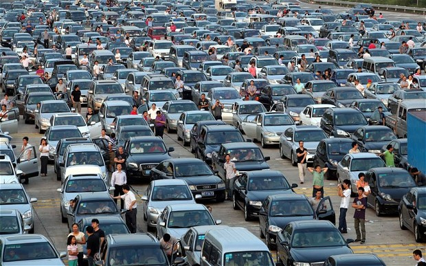 Holiday traffic in Shenzhen city, China. Photo: The Telegraph