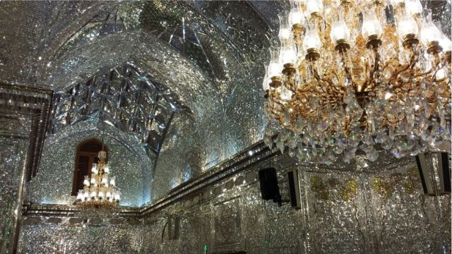 Mirrors... lots of mirrors. Inside Shah e-Charagh, Shiraz. Photo: Peninsularity Ensues.