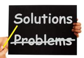 graphic showing two alternatives: solutions and problems