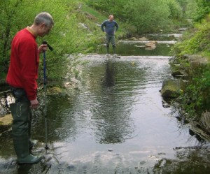 Penistone FoE group members doing the hydro survey