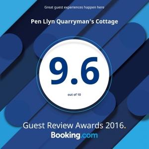 booking.com award for Quarryman's Cottage