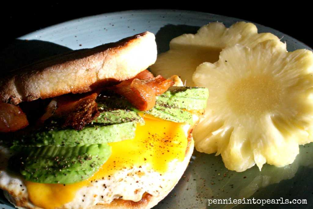 Bacon and Avacado Breakfast Sandwich