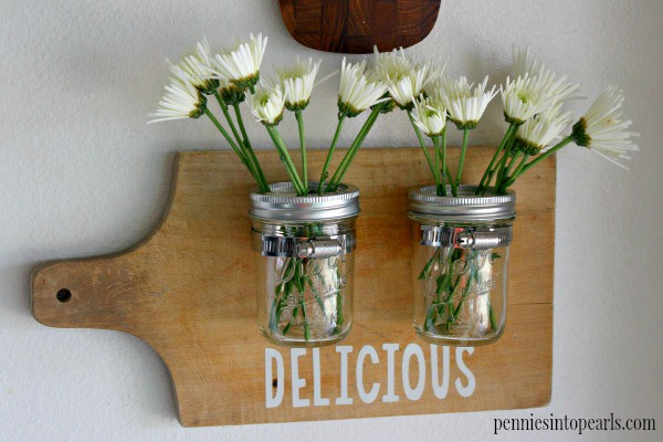 Mason Jar Cutting Board - penniesintopearls.com - Easy and shabby chic mason jar craft idea. Not only easy peasy but super cheap to make! Only about $3 each to make!