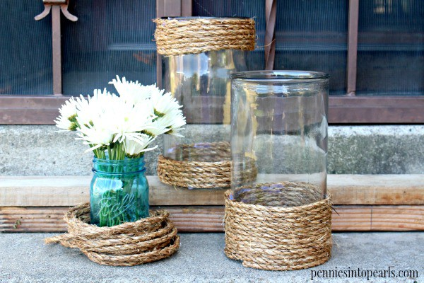 Roped Hurricane Vase - penniesintopearls.com - Easy DIY craft idea from copycat Homegoods decor. Super easy to follow tutorial on DIY craft project.