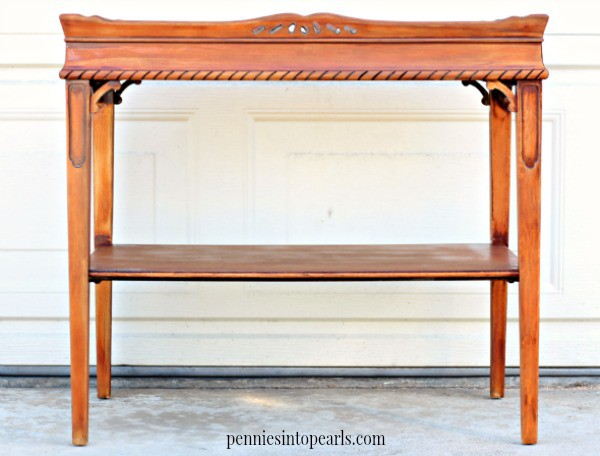 How to Stain Wood Furniture - penniesintopearls.com - Easy step by step instructions and tips on how to stain wood furniture. Pictures and video tutorial on how to stain wood furniture.