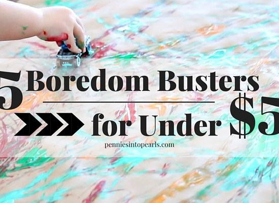Five boredom buster indoor activities for kids all for under $5 total! Winter activities or rainy day activities for kids.