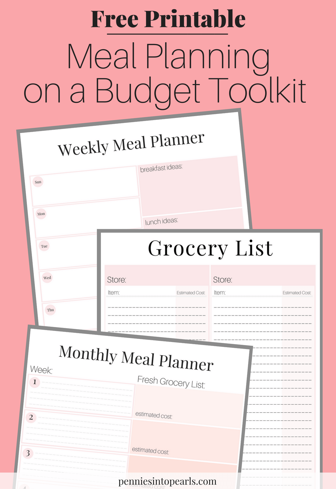image relating to Meal Planning Printable referred to as No cost Printable - Evening meal Developing upon a Price range Toolkit