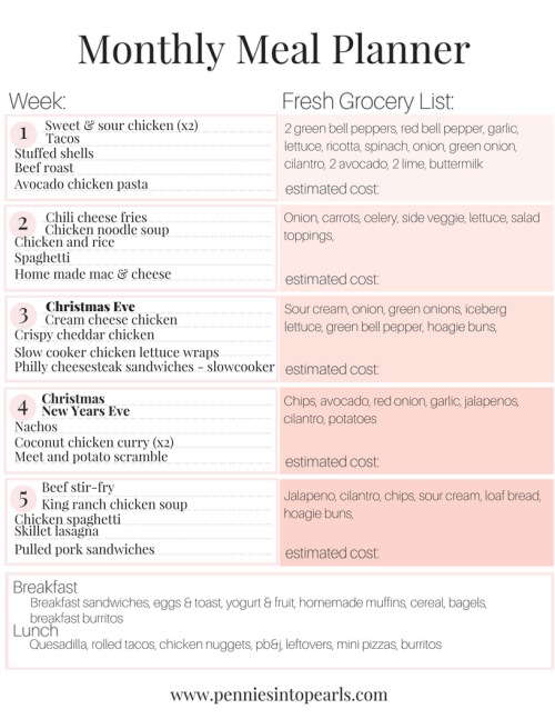meal planning on a budget free december meal plan printable