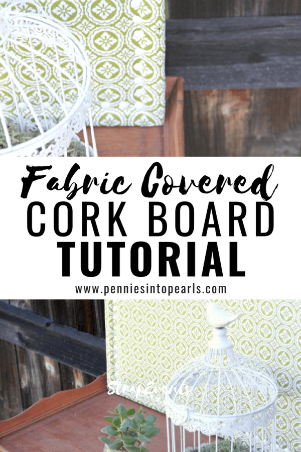 How makeover a thrift store bulletin board!  This awesome tutorial will help you learn how to make a fabric covered cork board for only a few bucks and under 15 minutes!  DIY bulletin boards are such good office and home decor!