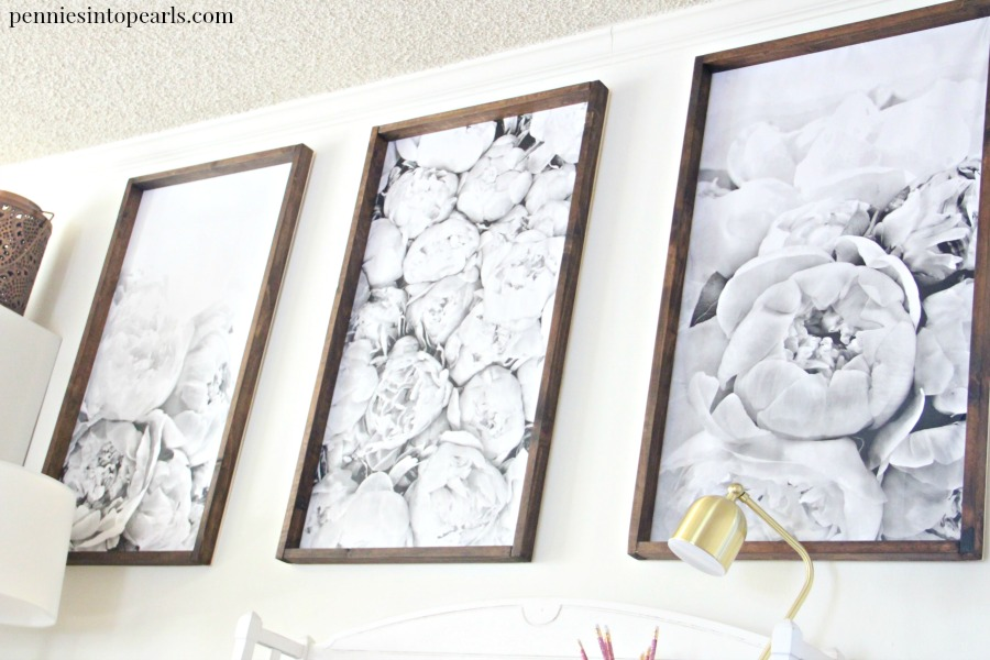 Easy tutorial on for a DIY Engineer Print Frame that will take you less than an hour to make and less than $10 each in supplies! This is the perfect beginners tutorial on how to build a large frame diy for engineer prints. A simple way how to decorate on a budget.