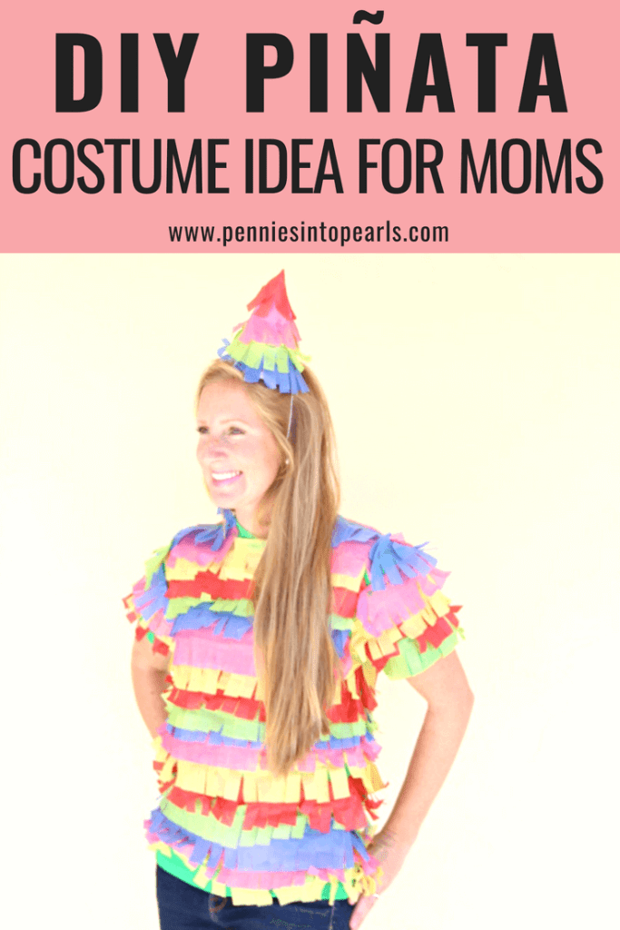 This DIY pinata costume is actually a dollar store costume idea! This diy halloween costume can be thrown together in 30 minutes and all supplies can be found at the dollar store! Three super quick costume ideas for moms and the bonus is if you don't already have the supplies, you can gather them with a five minute stop at the dollar store!