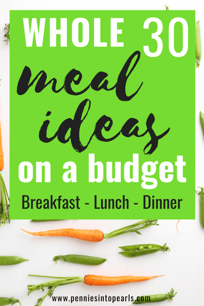 It is possible to eat a healthy Whole30 lifestyle on a budget and still have food full of flavor and a variety of healthy meal ideas! This FREE PRINTABLE meal plan covers 16 healthy dinner ideas, 8 healthy lunch recipes, and 10 healthy breakfast recipes. All these meal ideas are Whole30 and Paleo compliant!