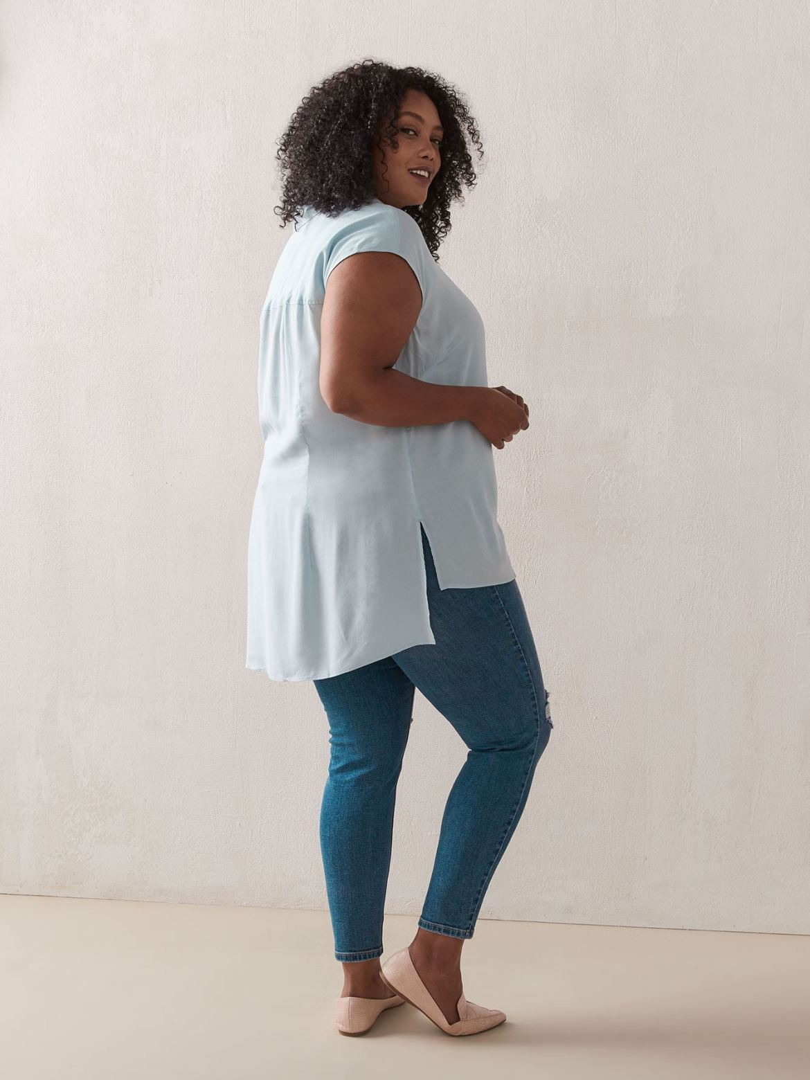 Solid Short Sleeve Blouse - In Every Story