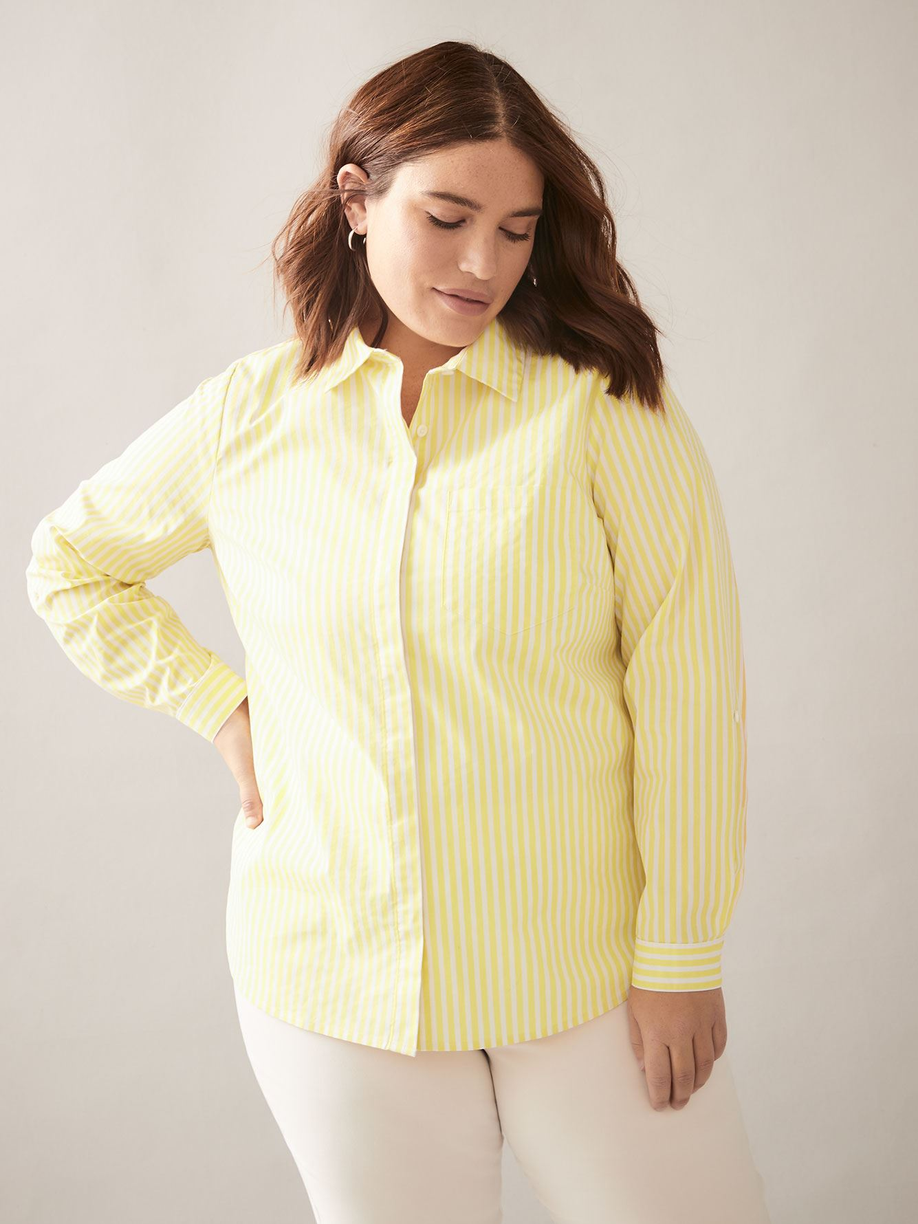 Striped Structured Poplin Blouse - In Every Story 4
