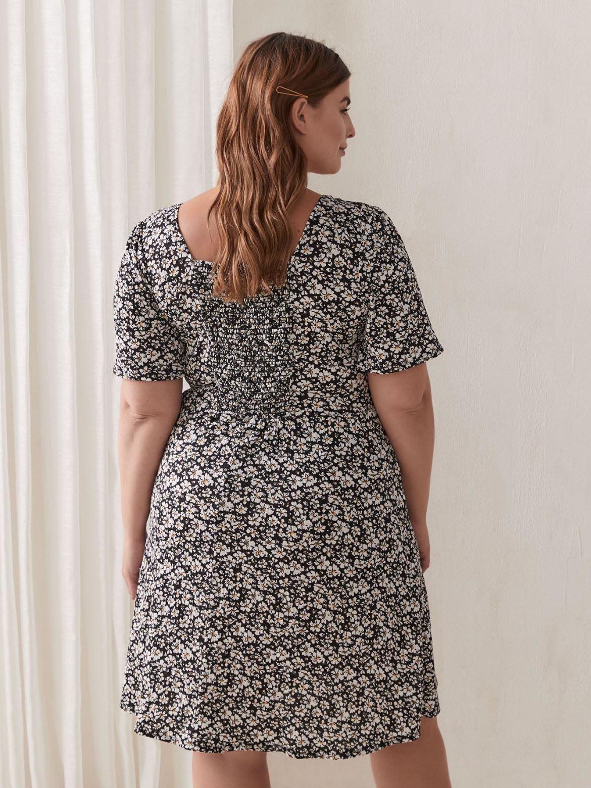Printed Smocked Short Sleeve Dress - Addition Elle