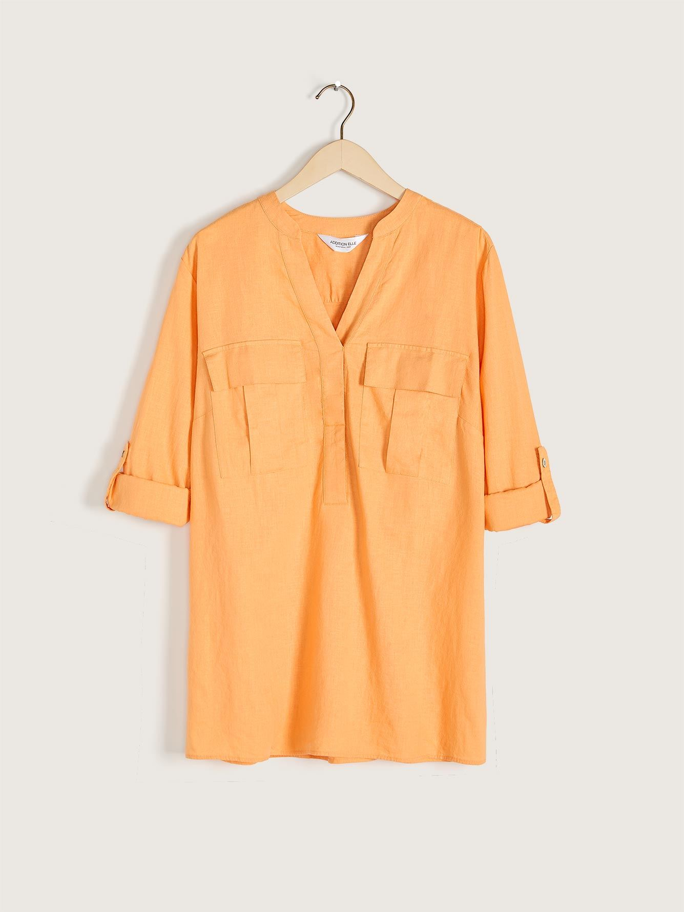 Solid Linen Popover Tunic Blouse - Addition Elle 12