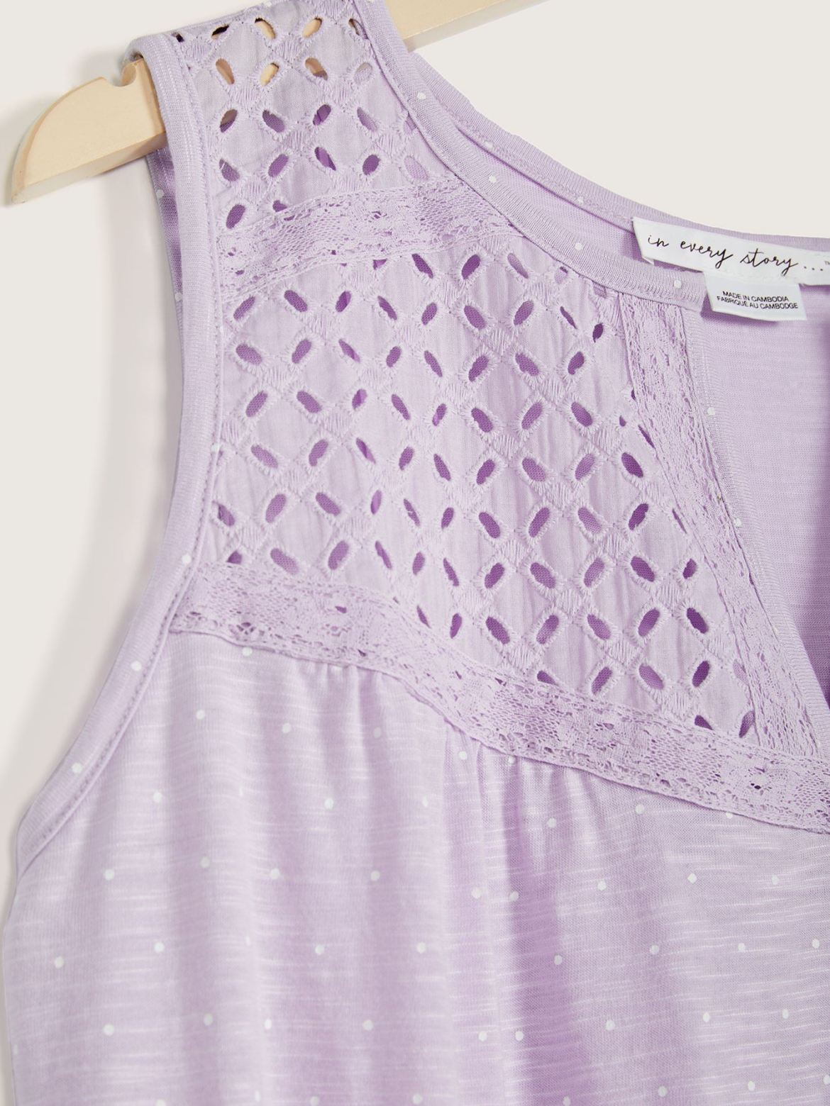 Printed Sleeveless Top with Lace Detail - In Every Story