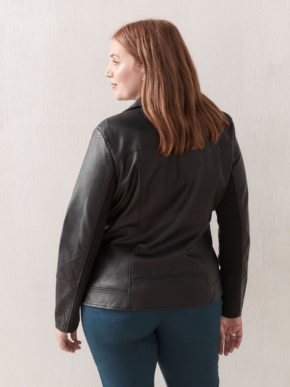 Short Faux-Leather Biker Jacket - In Every Story