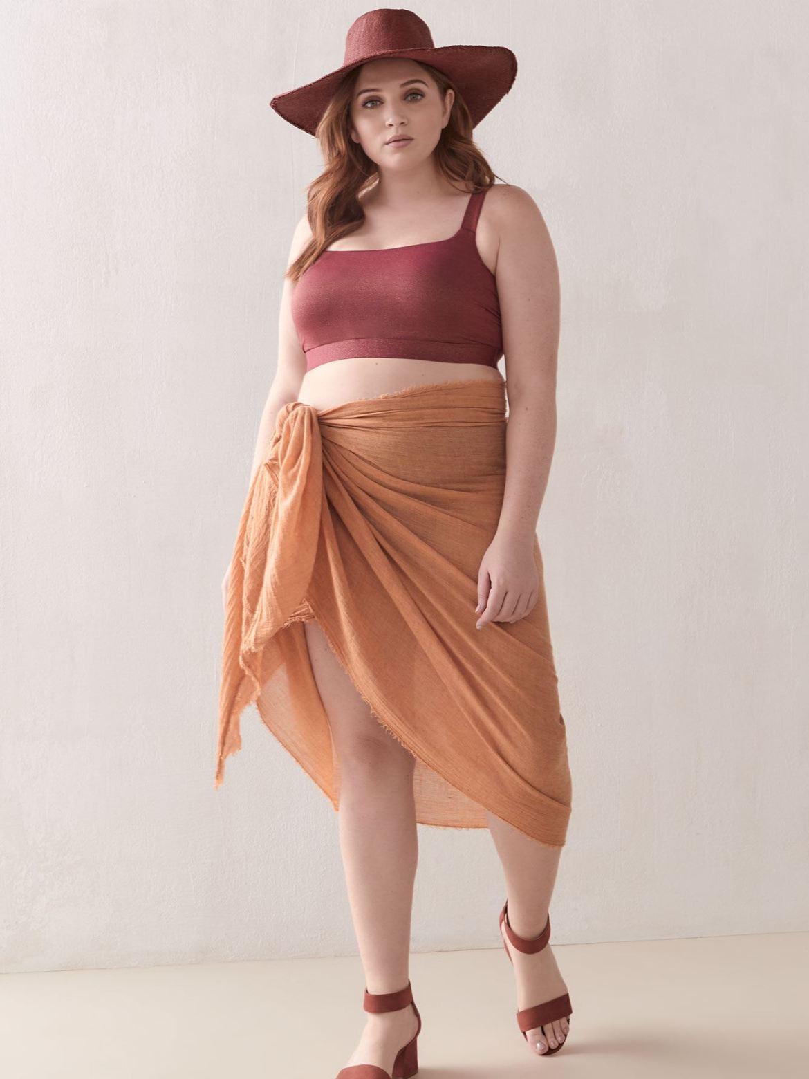 Shiny Square Neck Bikini Top - Addition Elle