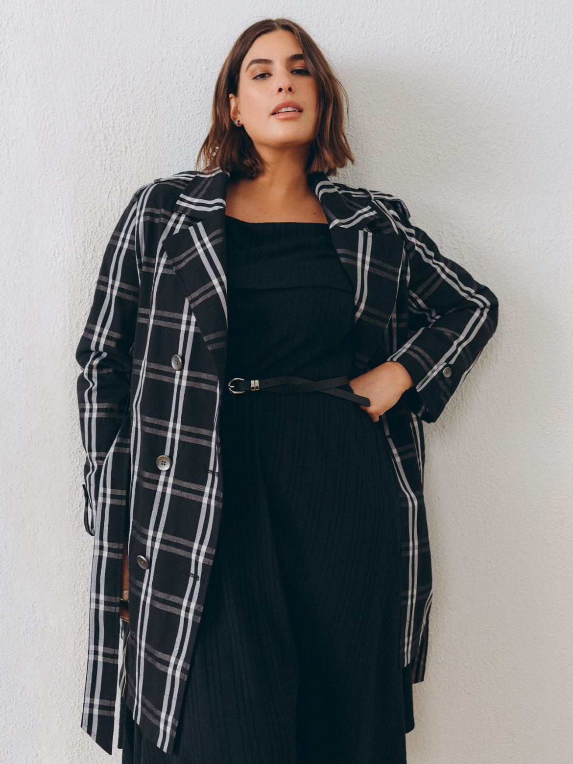 Plaid Trench Coat - Addition Elle