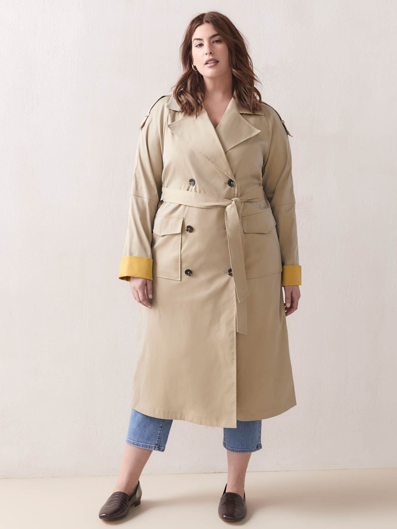 Bicolored Double-Breasted Trench Coat - Addition Elle 2