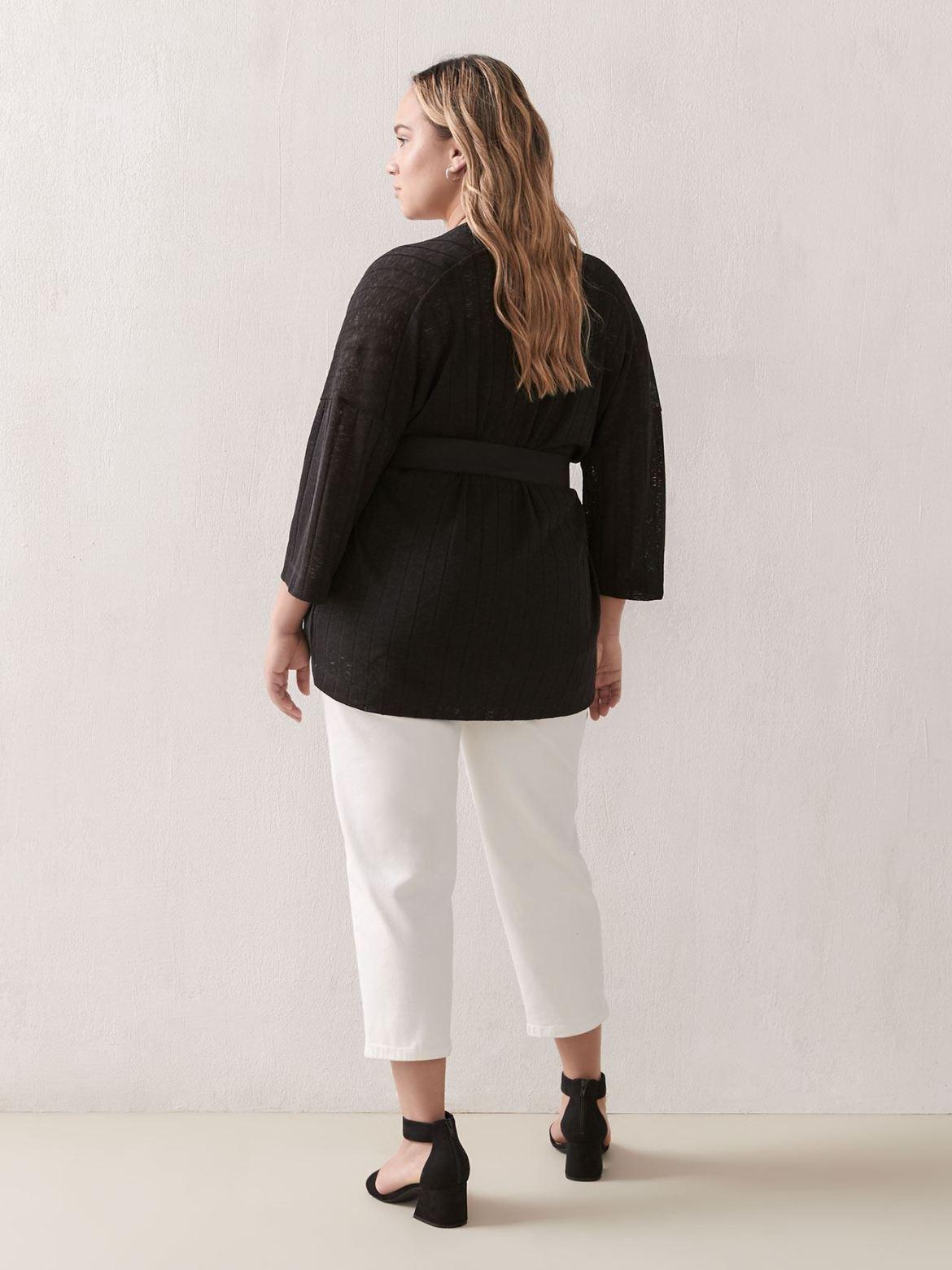 Wide-Sleeve Belted Cardigan - Addition Elle
