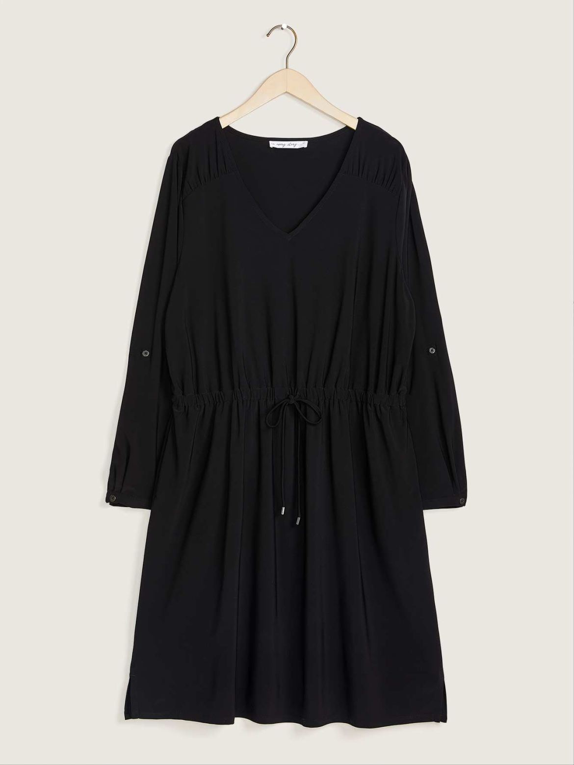 Solid Long-Sleeve Flared Jersey Dress - Addition Elle