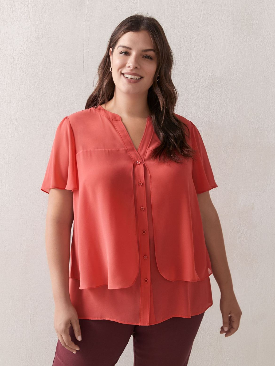 Buttoned Flutter Sleeve Blouse - In Every Story