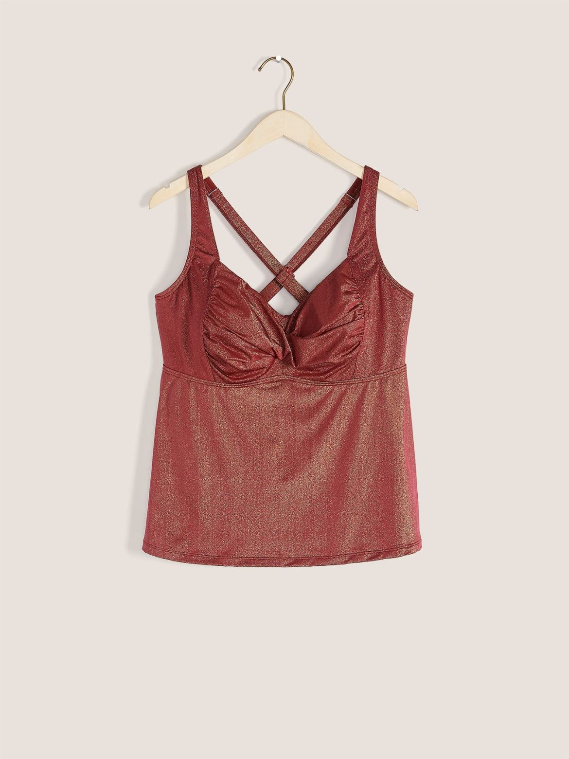 Ruched Twist-Front Tankini Top - Addition Elle