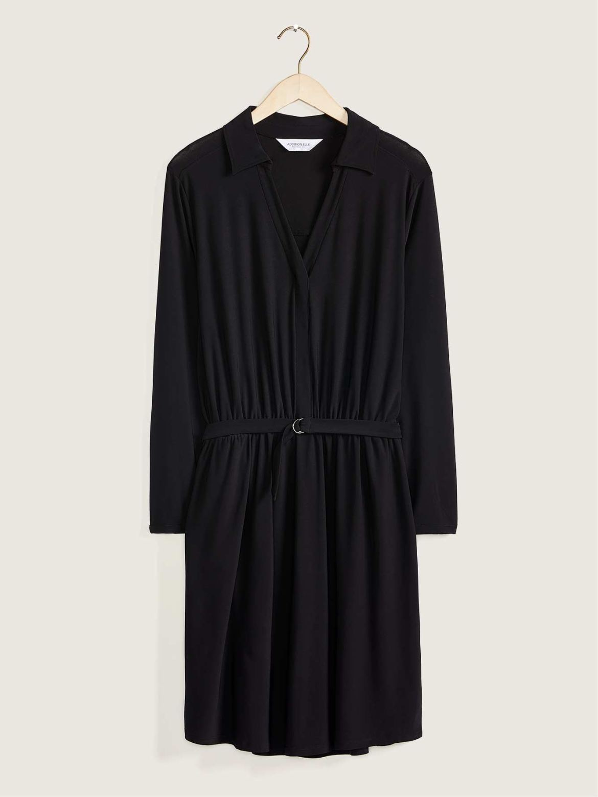 Long-Sleeved Solid Shirt Dress – Addition Elle