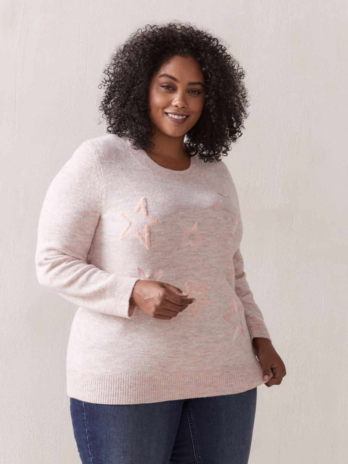 Crew Neck Sweater With Pattern - Addition Elle