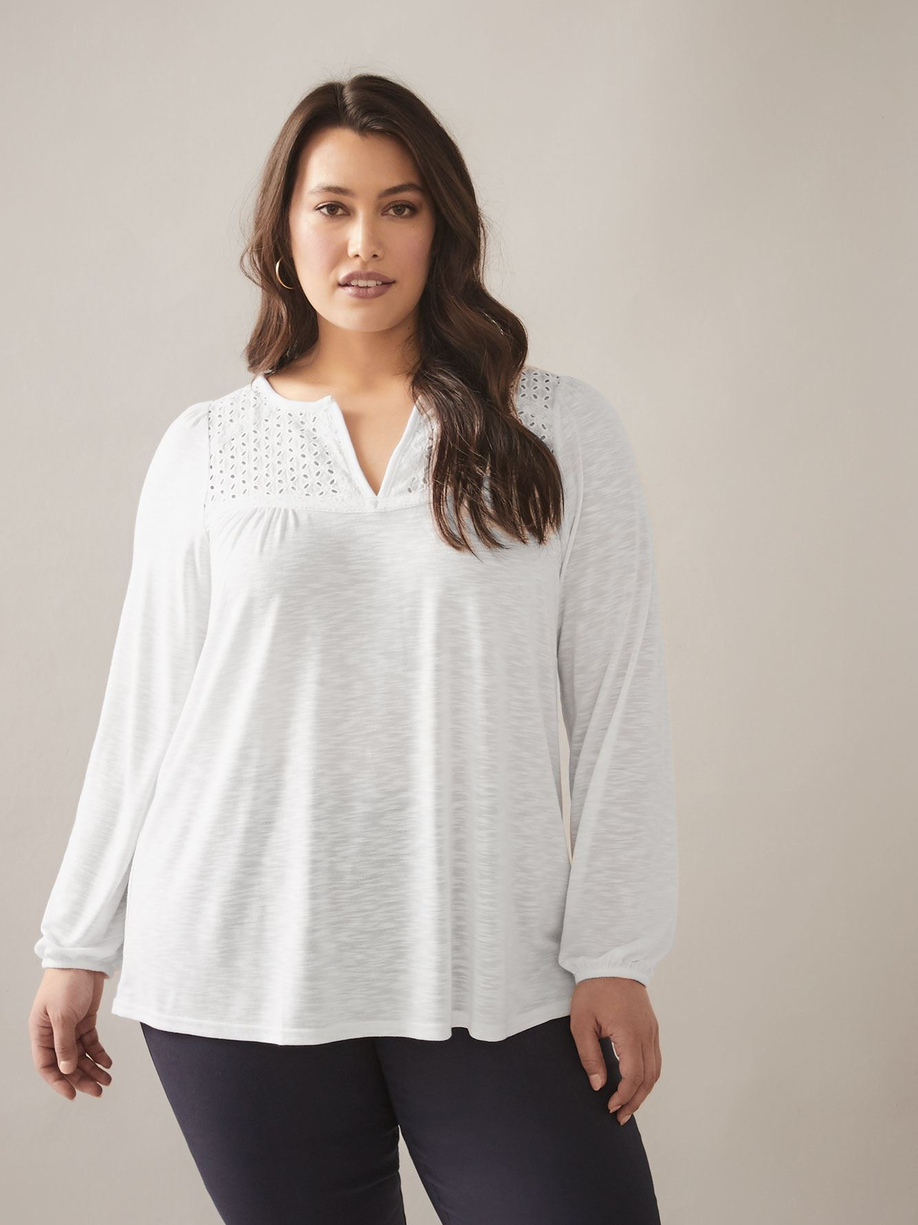 Solid Long Sleeve Top with Eyelet Detail - In Every Story 2