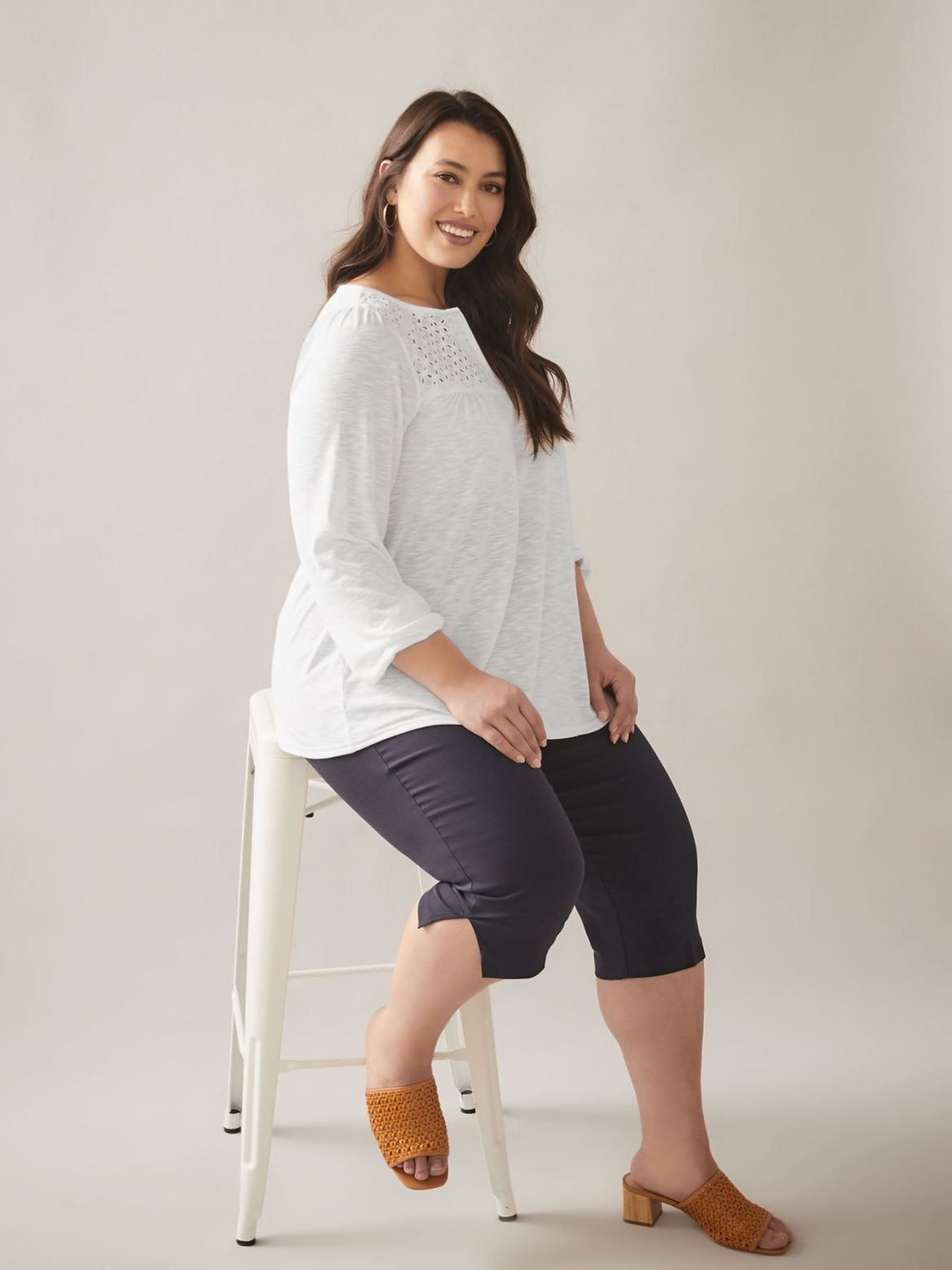 Solid Long Sleeve Top with Eyelet Detail - In Every Story