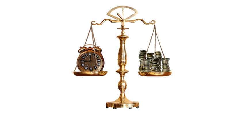 justice scales time money