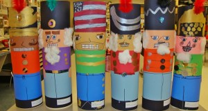 Nutcrackers made by third-graders, from left, Riley Harris, Kaidecy Nichols, Samantha Mitchell, Corinne Smith, Jordan Purcell and Logan Hagerich