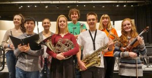 District band, chorus and orchestra students are, from left (front row), Will Torres, Emma Young, Kenny Lashley and Madeline Clause, (back row) Allison Ulaky, Ali Murphy, Caleb Breidenbaugh and Emily Thyrum.