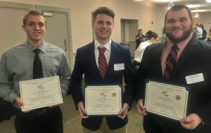 Penn Manor FBLA award winners include, from left, Jared Byrne, Ryan Miller and Cameron Steele.