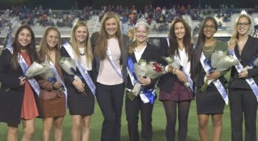 The homecoming court at halftime.